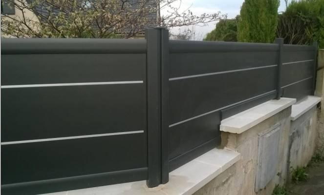 Cl ture pleine citadine design sib en alu noir sabl for Cloture jardin 78