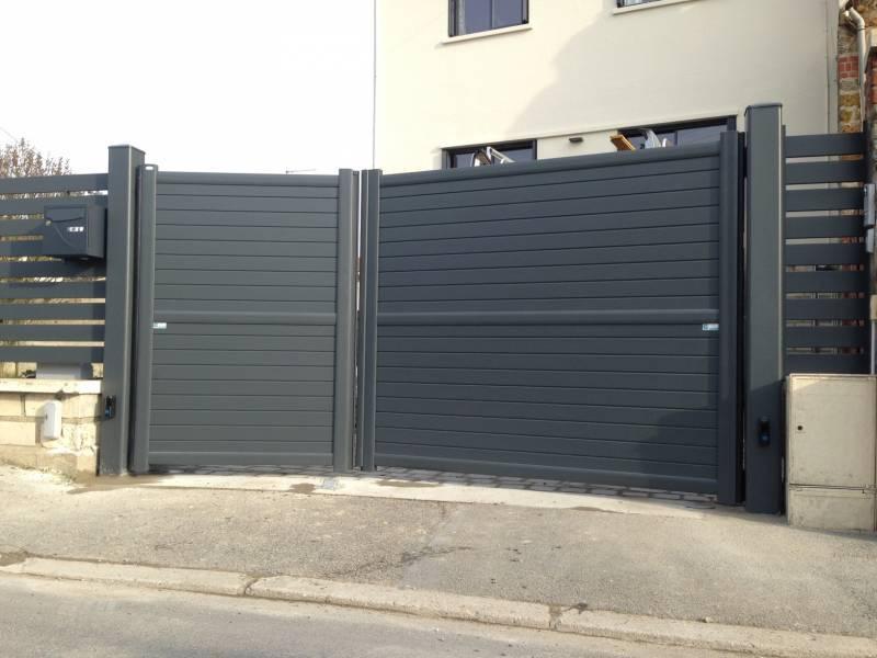 Portail alu 78 portail automatique portail lectrique - Portail a vantaux ...
