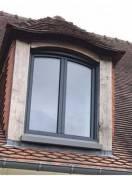 Fenêtre 2 vtx cintrée KLINE alu Gris 7016 Satiné