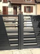 Portail battant SIB alu noir sablé avec barreaux grix 9007