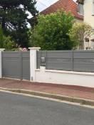Portail et clôture Alu SIB, gris 9007 texture décor Labyrinthe