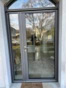 Porte entrée ALU cintrée gris 2900 avec semi fixe Le Vésinet